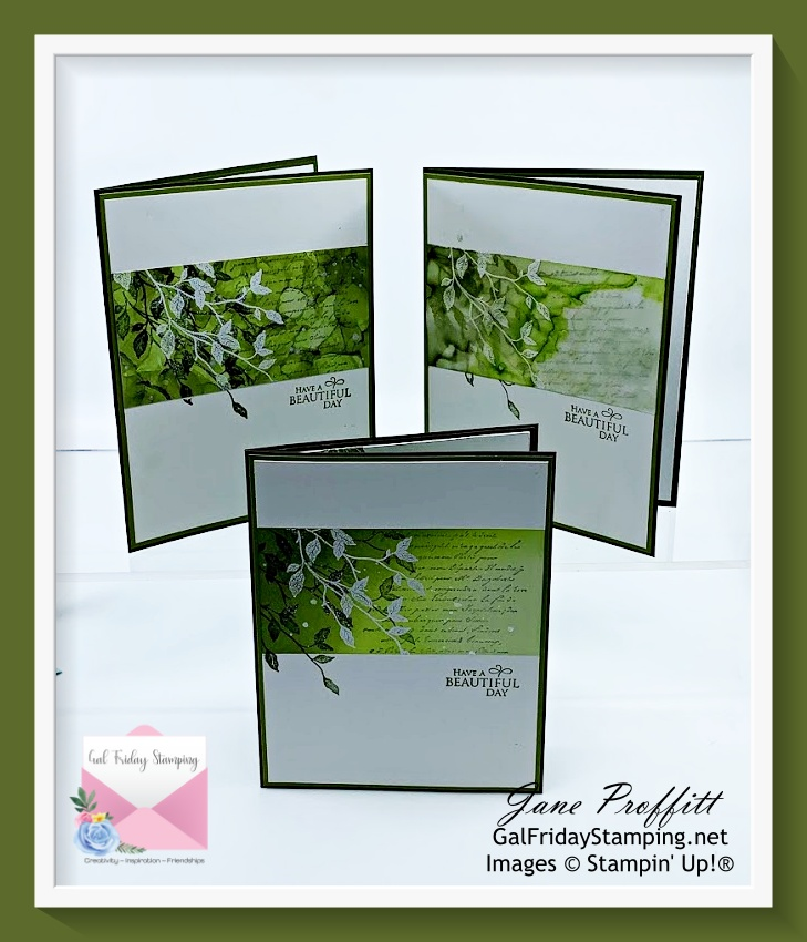 Let's talk about backgrounds as we create this trio of cards using the Very Versailles stamp set.