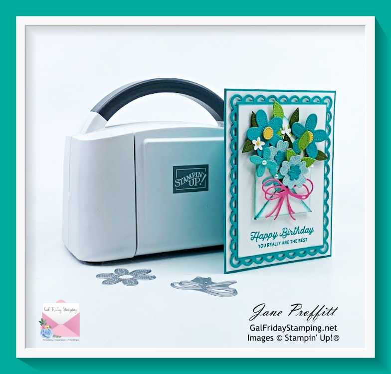Use the mini Stampin' Cut & Emboss machine as you create your card filling the envelope with flowers