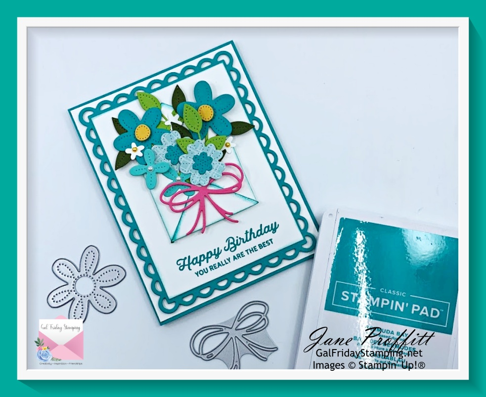 Filling the envelope with flowers using the In Bloom bundle from Stampin' Up!