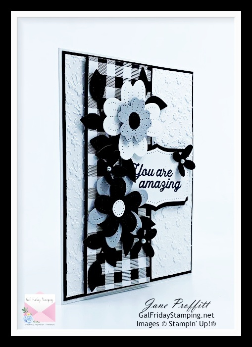 Card created with In Bloom on a cloudy day here in Pennsylvania.  Color combo of this card is basic black, basic white and smoky slate.