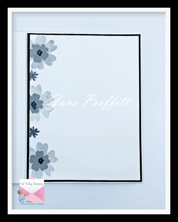 Don't forget the inside of the card.  It has been stamped and stamped off with Smoky Slate Classic Stampin' Pad.