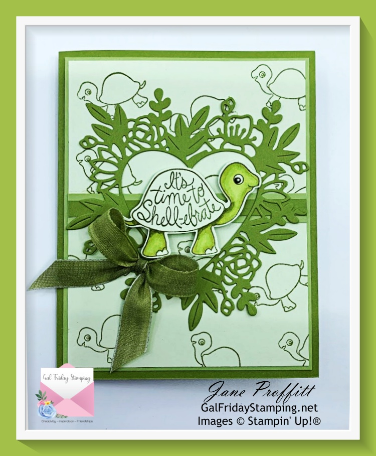 Here is one of the card that I will be creating  using the Turtle Friends Bundle live tonight.