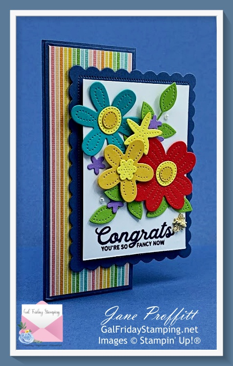 In Bloom rainbow after the storm fun fold card to send congratulations to those you love.