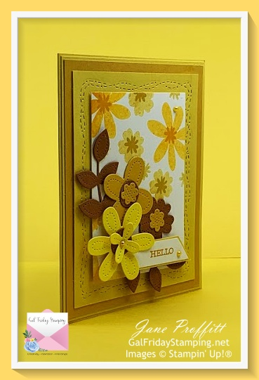 Toda's sunshine on a rainy day card with created with bright colors and the In Bloom bundle.