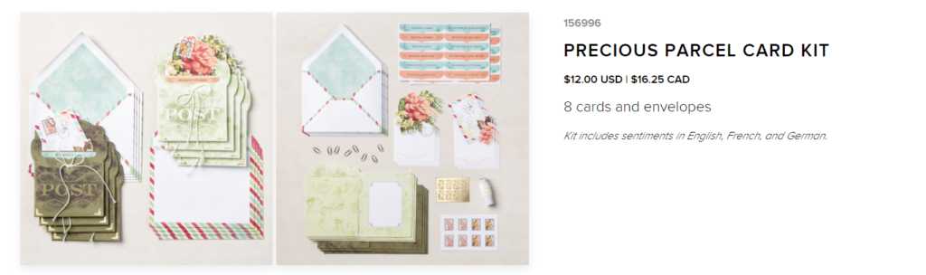 The Precious Parcels card kit is being released June 1st.  Purchase the kit from my online store and receive a free PDF for my alternate projects.