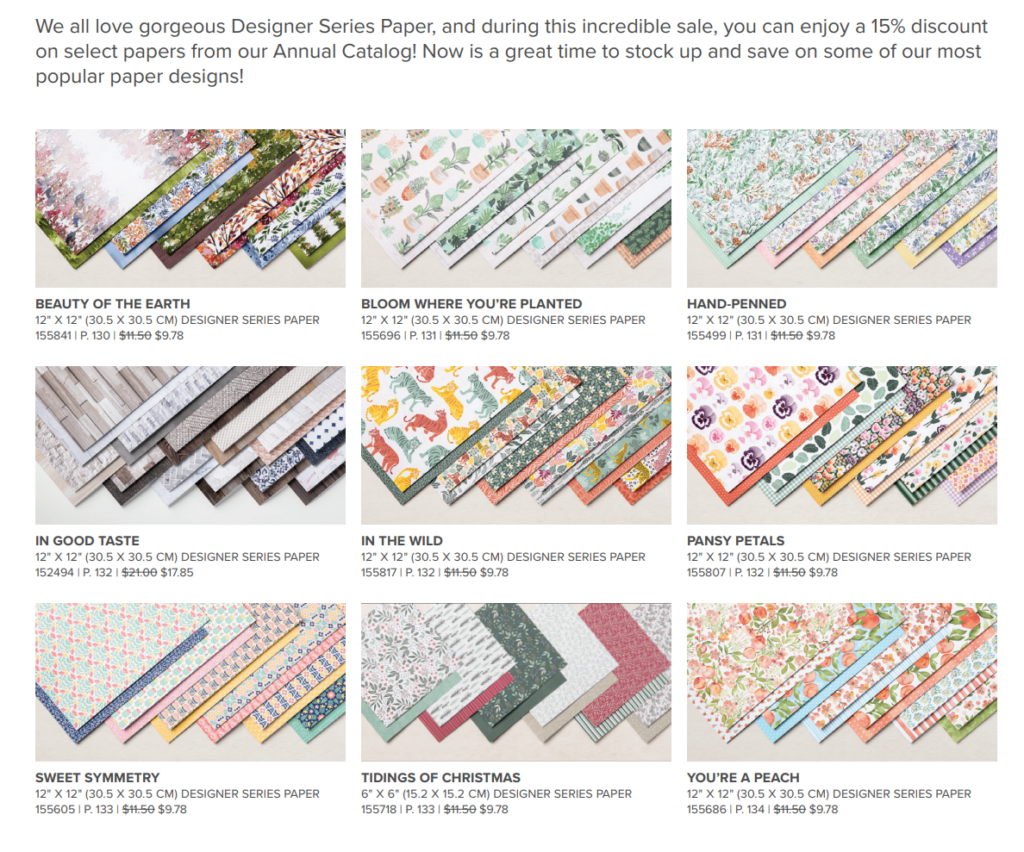Starting July 1st, join in on the designer series paper sale at Stampin' Up!  Check out the papers for sale.