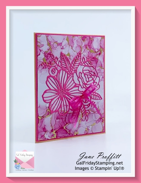 Quick and easy card created with the Stampin' Up! Artistically Inked stamp set and beautiful designer series paper.