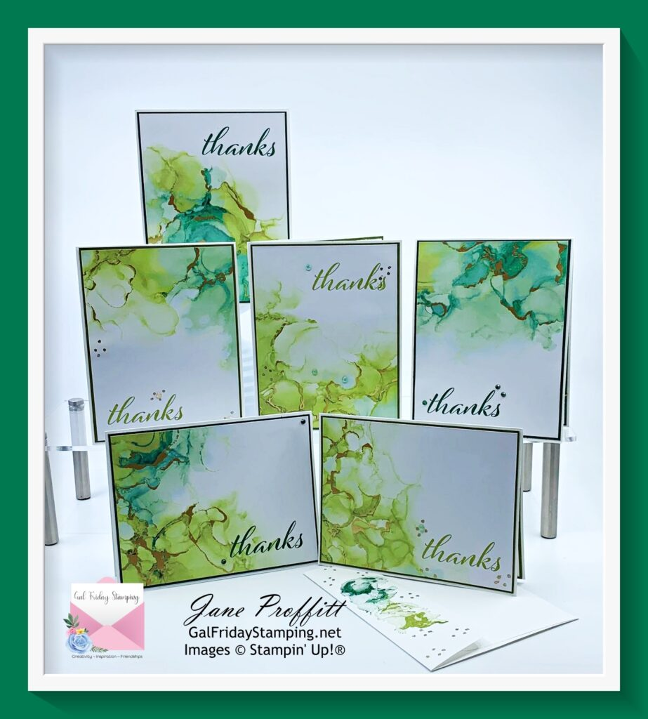 Here are the 6 Thank You cards created with one sheet of DSP from the Expressions in Ink designer series paper pack.