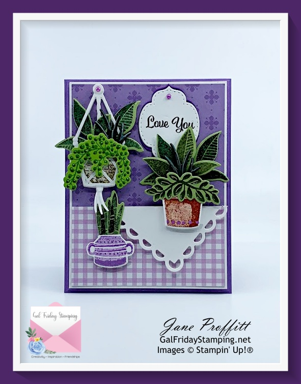 Lots of greenery, layers and patterns were used to create today's card using Plentiful Plants bundle from SU