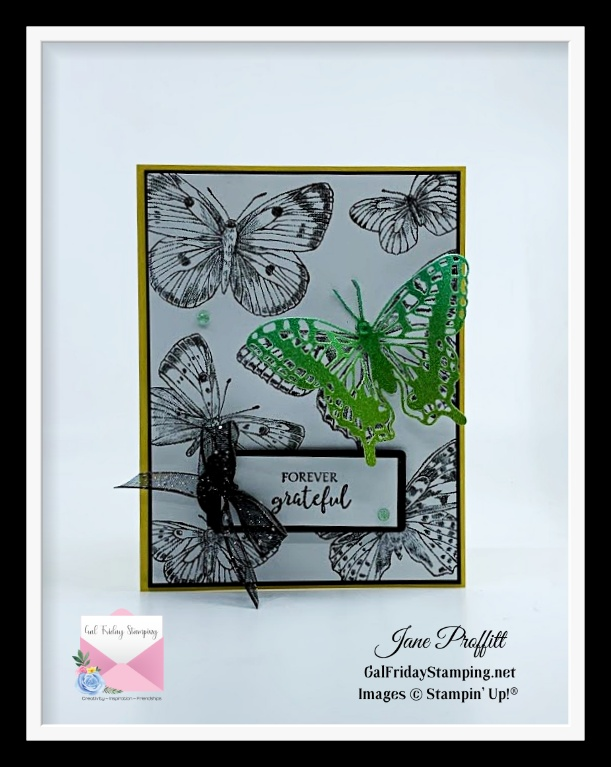 Basic Black, Basic White, Daffodil Delights card stock with a bit of Rainbow Glimmer paer for today's quick and easy card.