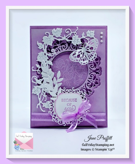 Fresh Freesia and Basic White was used to create this card for my newsletter this week with simple stamping and elegant die cuts.