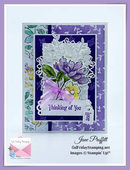 Not only a floral beauty in purples, but a pretty card using beautiful designer series paper.