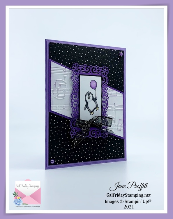 Adorable penguin on the front of a Happy Birthday card using the Count on Me stamp set.