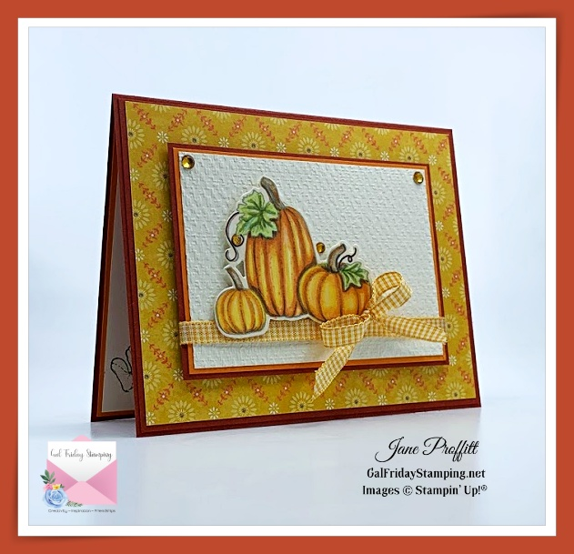 Pretty Pumpkin stamp set coordinates so well with the Harvest Meadow designer series paper.  Both are being released with the new Mini Catalog.