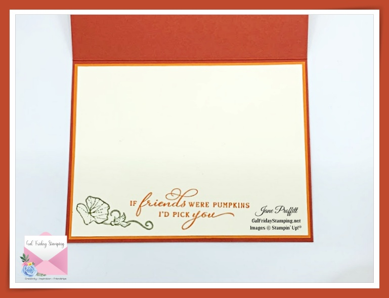 Don't forget the inside of the card created with the Pretty Pumpkins stamp set.