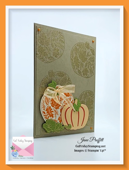 Let's gather together sentiment stamped inside of this card created with the Pretty Pumpkins bundle