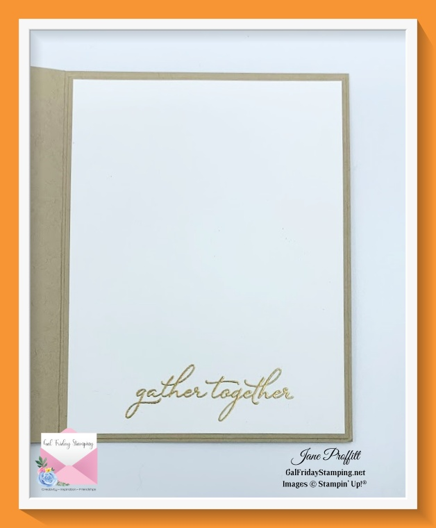 Sentiment is simply stamped on the inside of the card.
