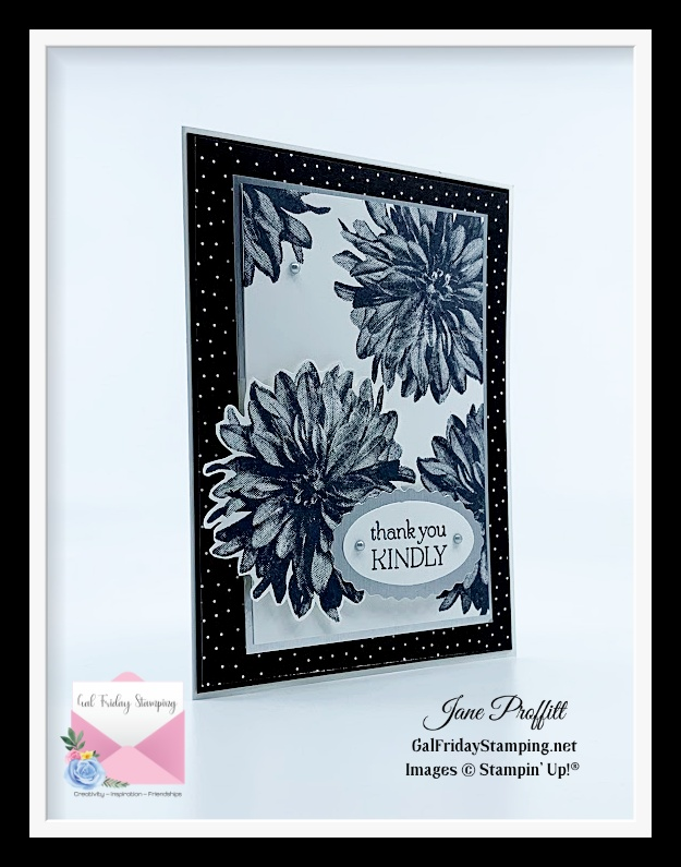 One last delicate dahlias card using black and white