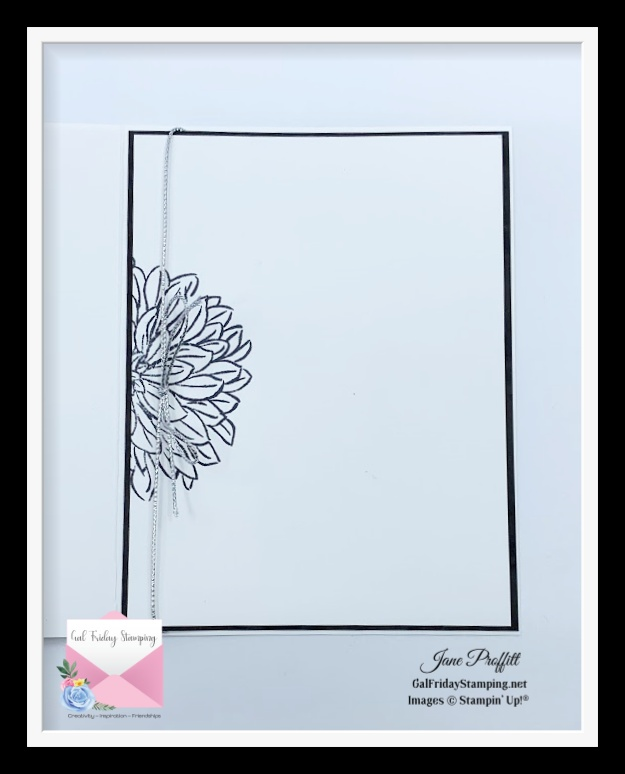 I did not forget the inside of my one last delicate dahlias card.