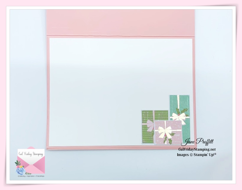 Do not forget the inside of the Delivering Cheer this Fabulous Friday card or any card you create.