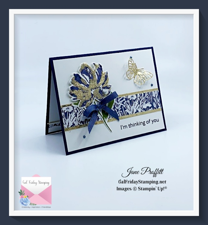 There are a few techniques as my alternative to gold foil on the front of this card.
