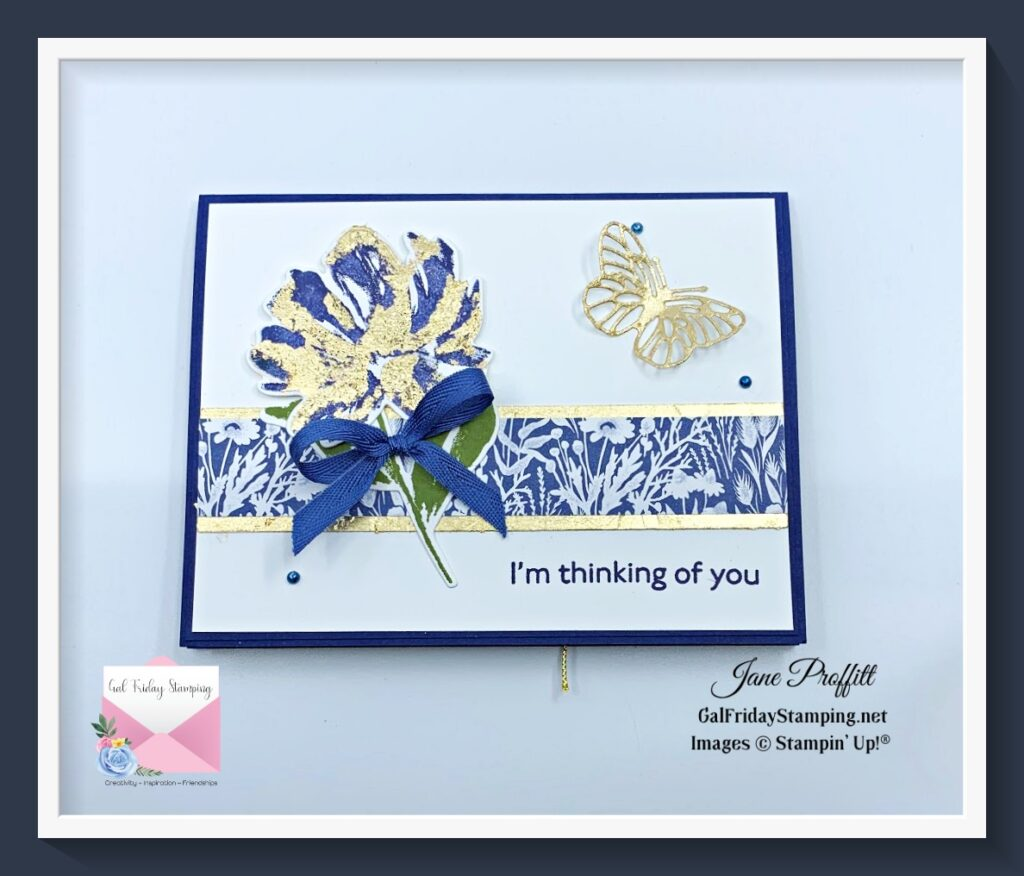 This alternative to gold foil shimmers and shines on the front of this card.