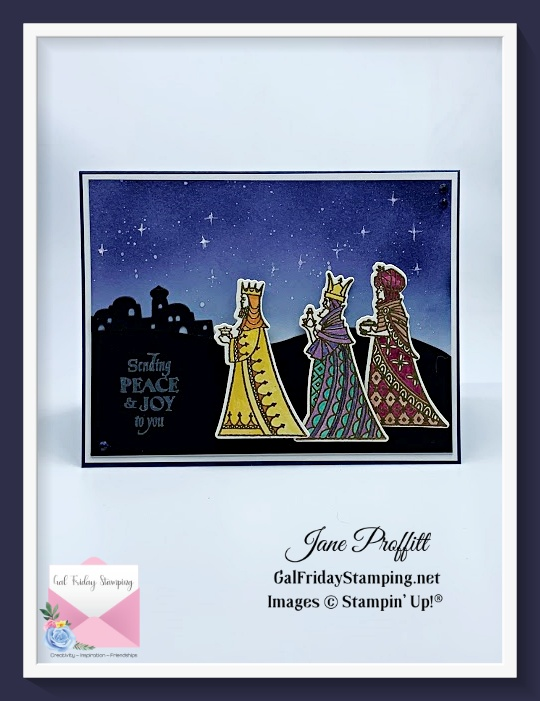 Blending, die cutting, stamping, embossing and water coloring were the techniques used to create with the Great Tidings bundle.