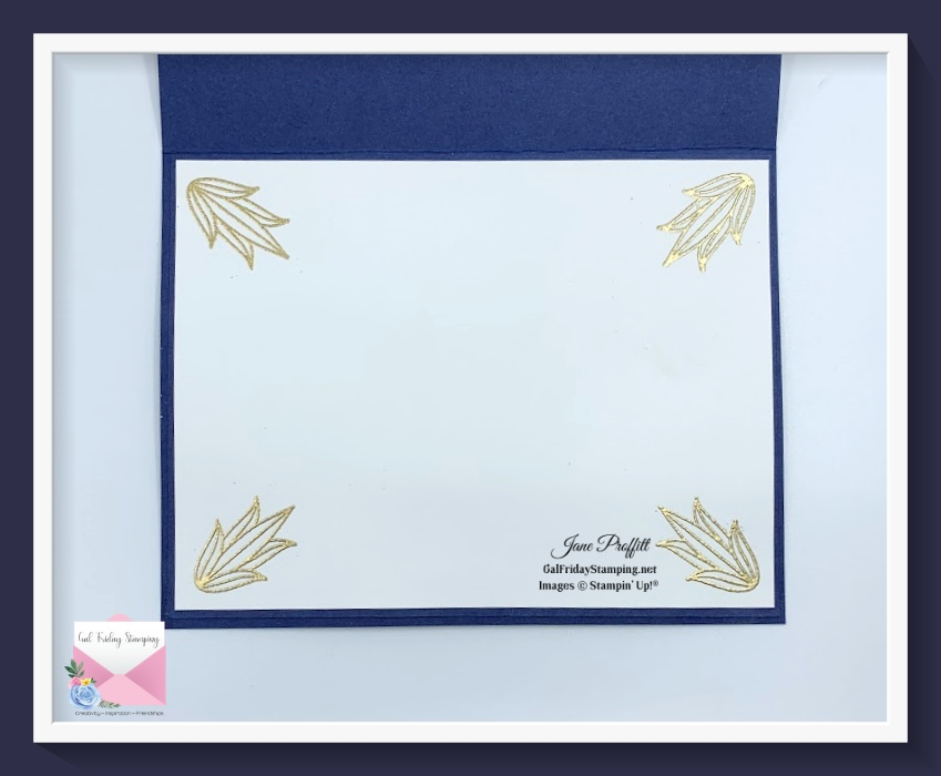Don't ever forget the inside of your card.  I used another stamp from the Great Tidings bundle and embossed the inside.