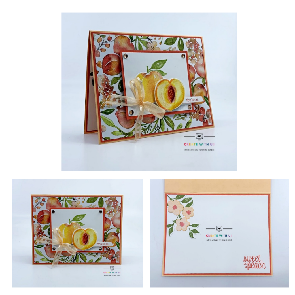 A gallery of photos of the card I created with the Sweet as a Peach bundle.  It is included in the Create with Us International Tutorial bundle.