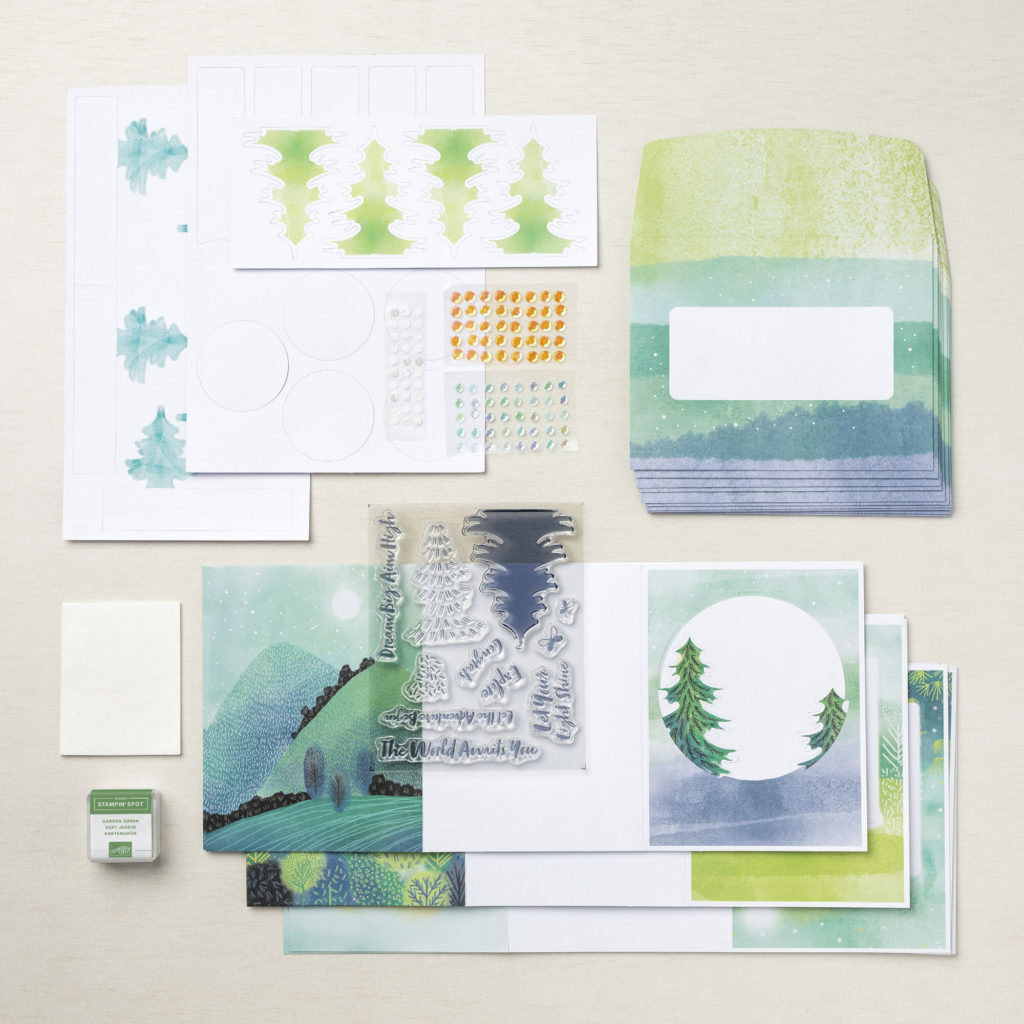 The Adventure Begins is a Paper Pumpkin Inclusive kit for you to create beautiful cards.