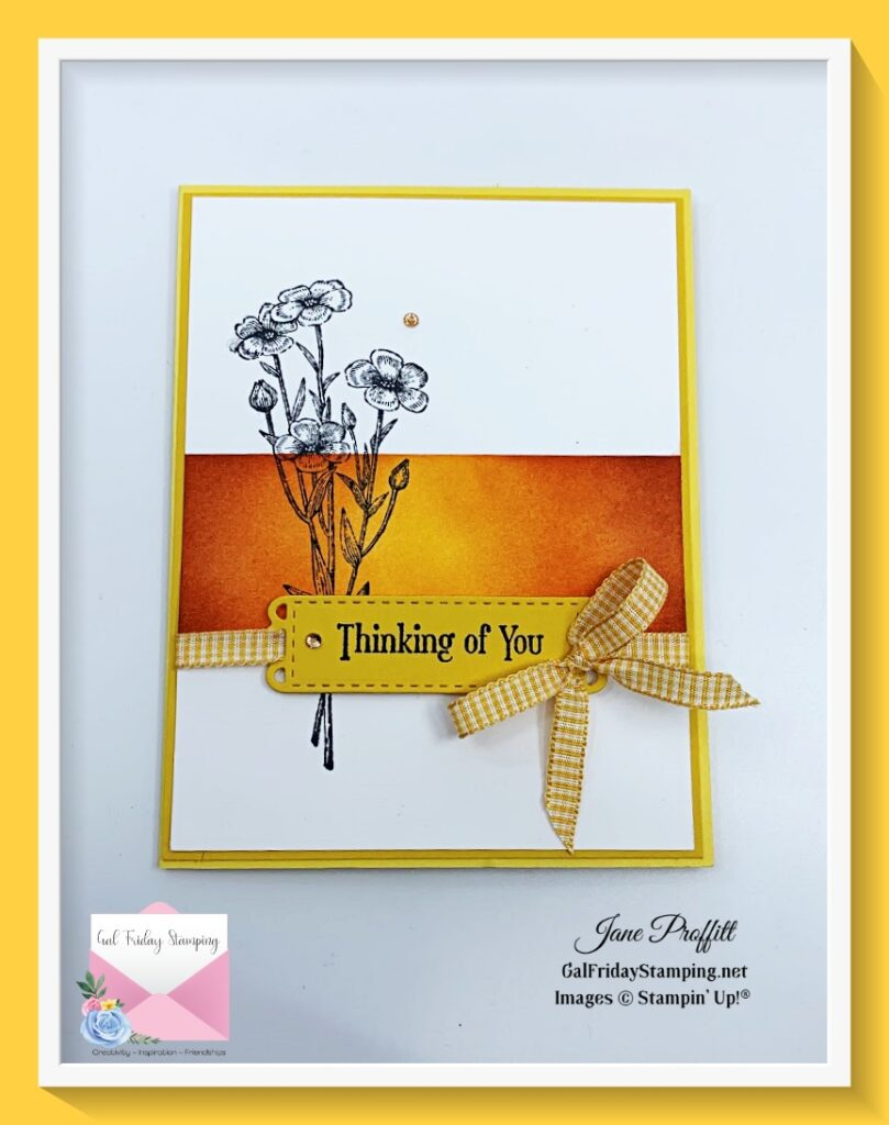 Using the Stampin' Up! blending brushes I created this Quiet Meadows at sunset card.  Quick and easy card to say I am thinking about you.