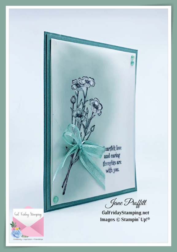 Soft Succulent, lot's of layers, blending and vellum paired with the Quiet Meadow stamp set.