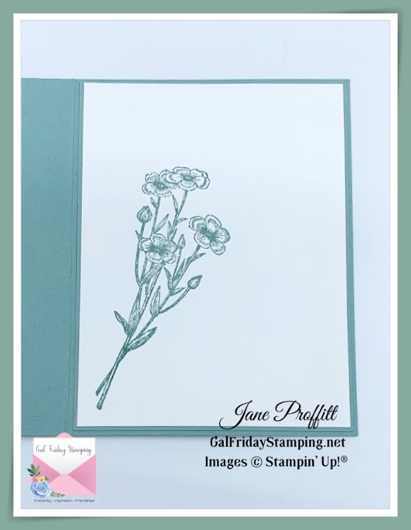 I did not forget the inside of the card after adding blending and vellum to the front of the card.