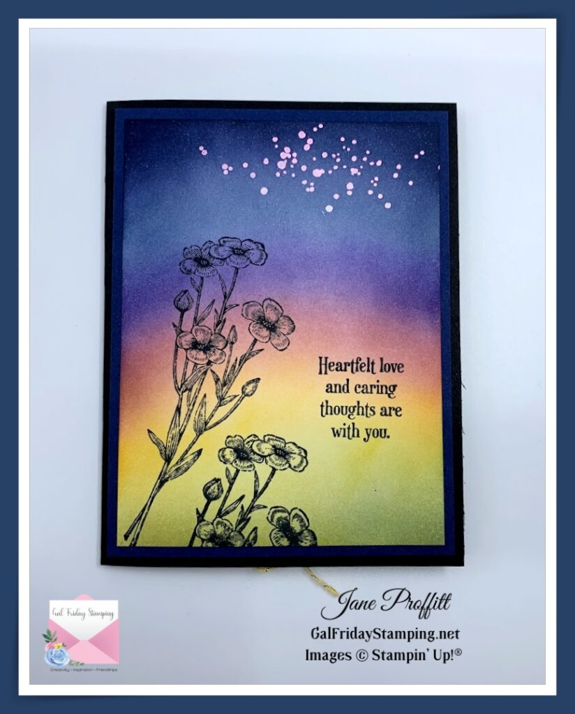 The Quiet Meadow at sunrise card with stars still in the dark sky.