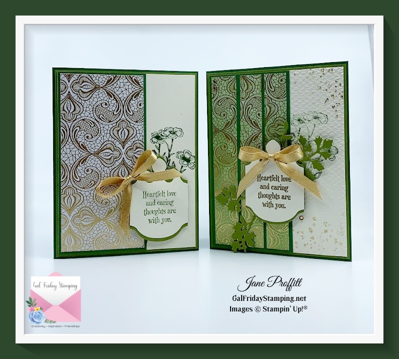 Simple Saturday to Stepped Up Sunday card using Quiet Meadow and products from the Simply Elegant Suite.