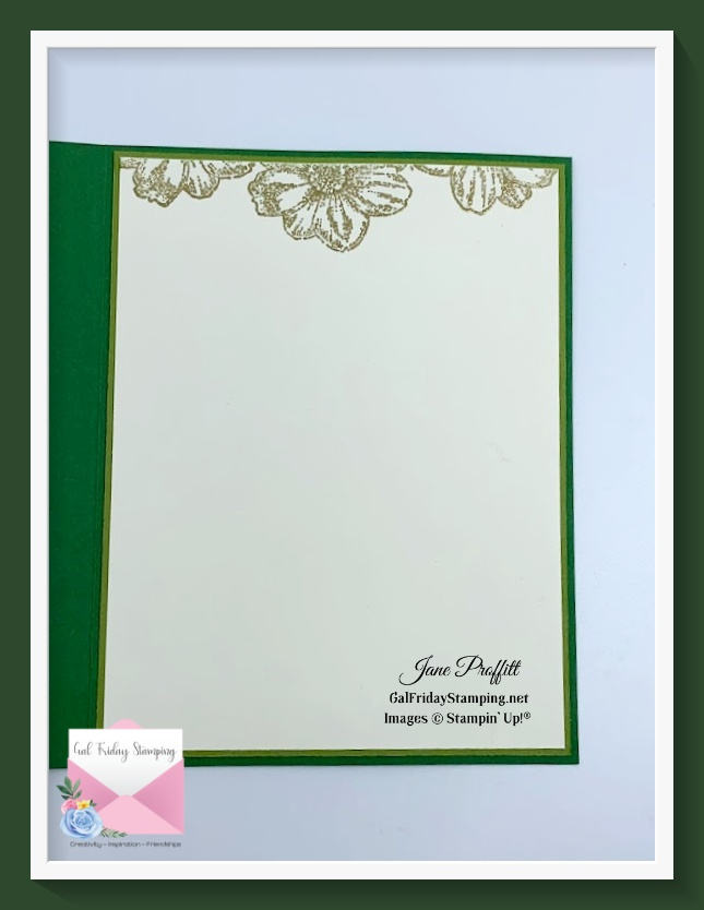 Did the same for the inside of this card except the flowers are embossed in gold.