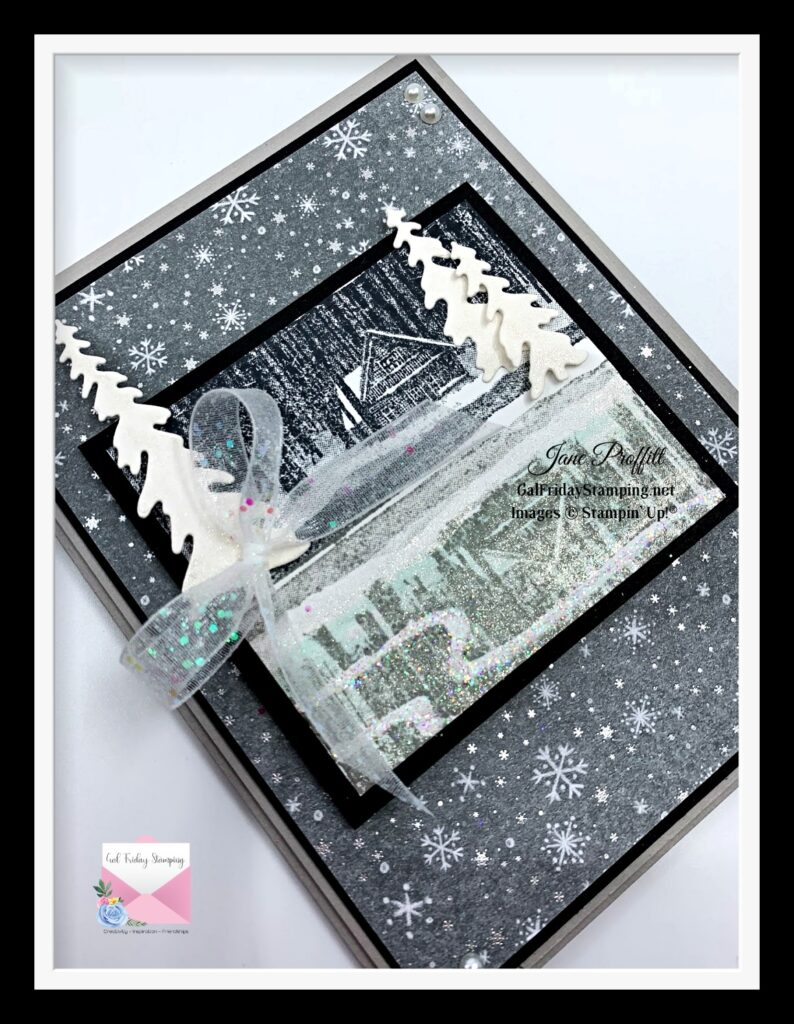 Take a closer look at the shimmer and shine on the front of this card.  Image stamped with the Stamparatus.