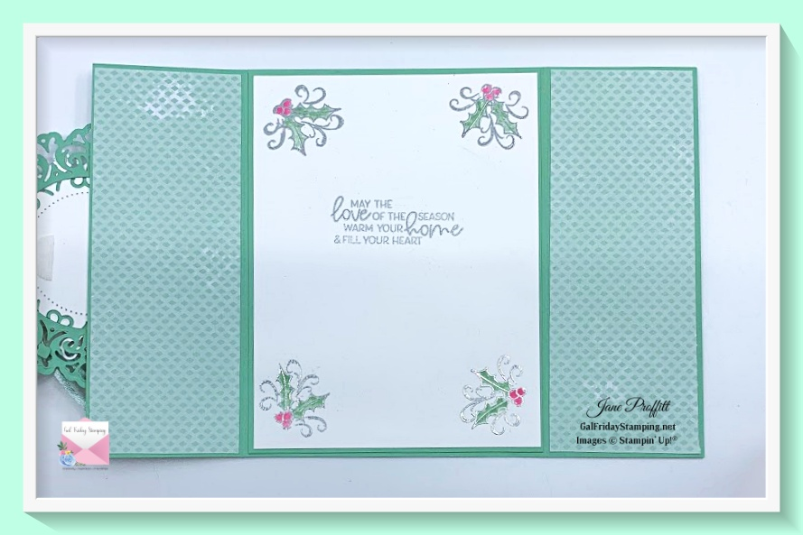 The inside of the card was not forgotten.  I water colored and embossed the inside of the card for the Whimsy & Wonder Gift Set.