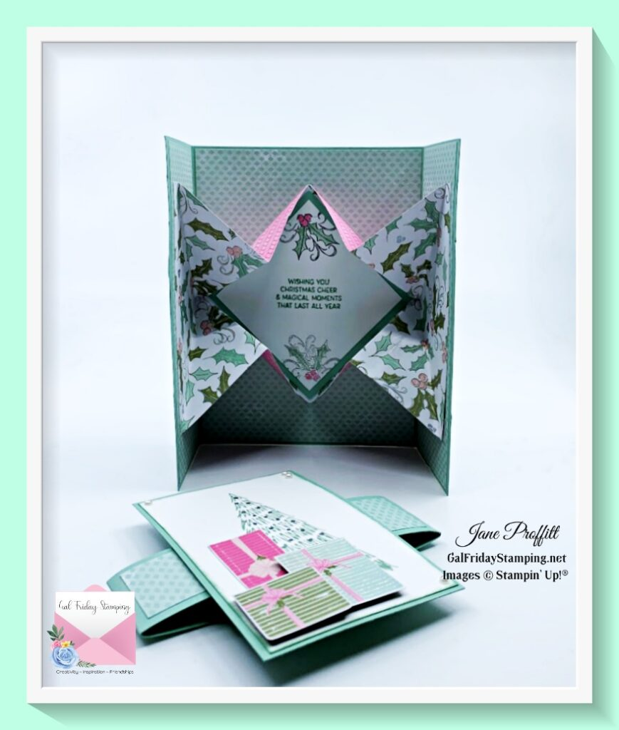 Open up the gatefold explosion card and there is a surprise inside.  Fun card can be recreated for any occasion.