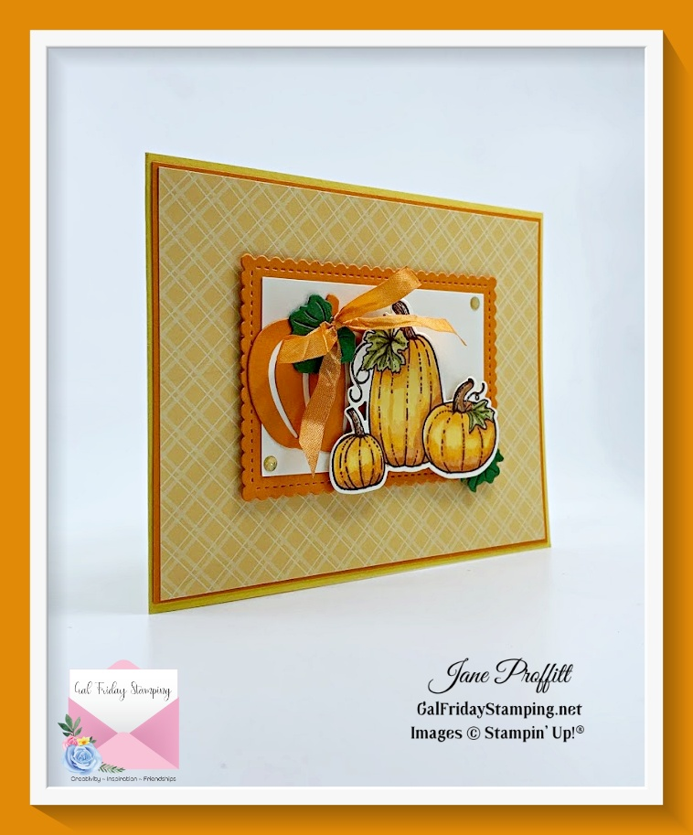 Quick & Easy Pretty Pumpkins card which is a card for my Patreon class this month.