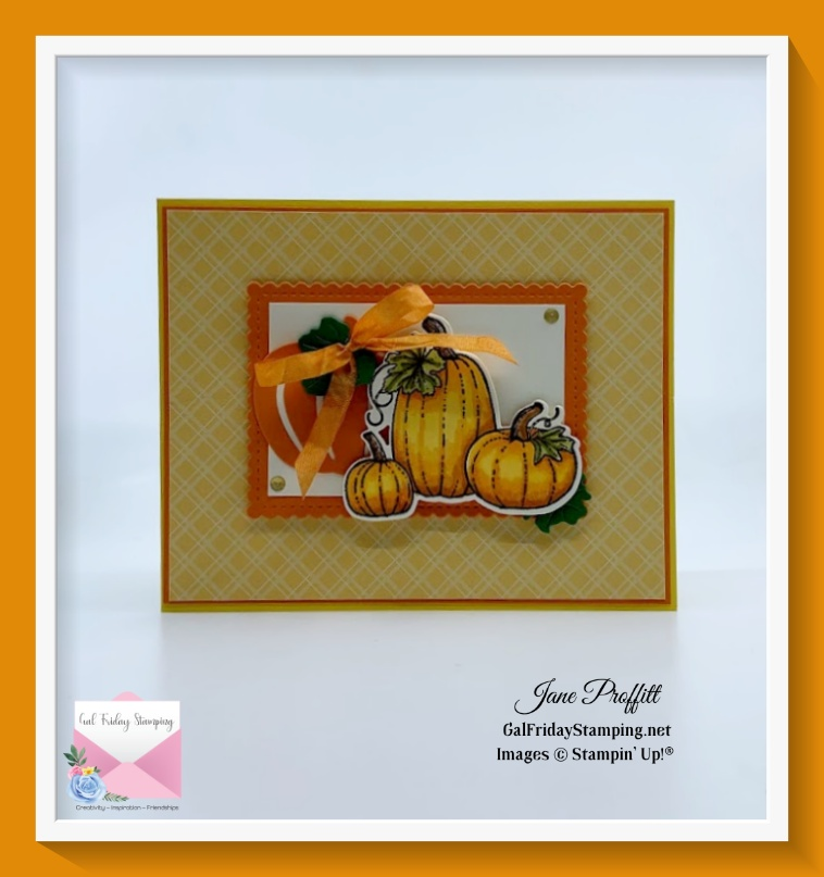 This quick & easy Pretty Pumpkins card also highlights coloring pumpkins which we will be focusing on this week.