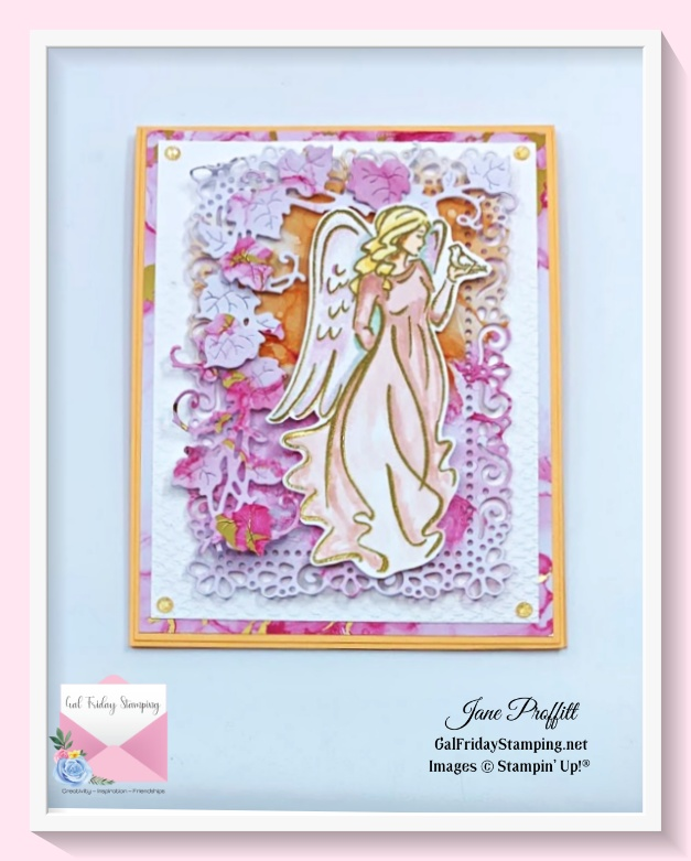 Angels of Peace live using beautiful papers, die cuts, water coloring and embossing..