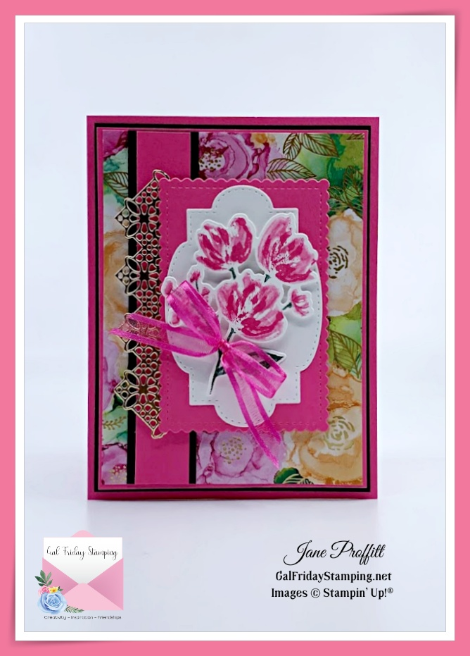 Bold and beautiful card created with the Art Gallery Stamp Set.