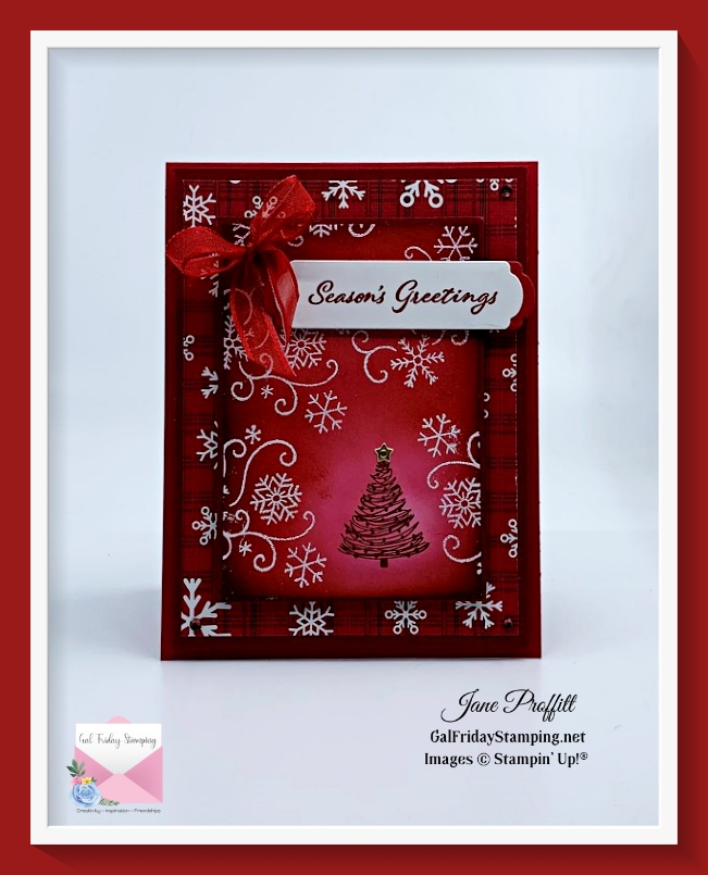 From fall to snow with season's greetings Christmas card.