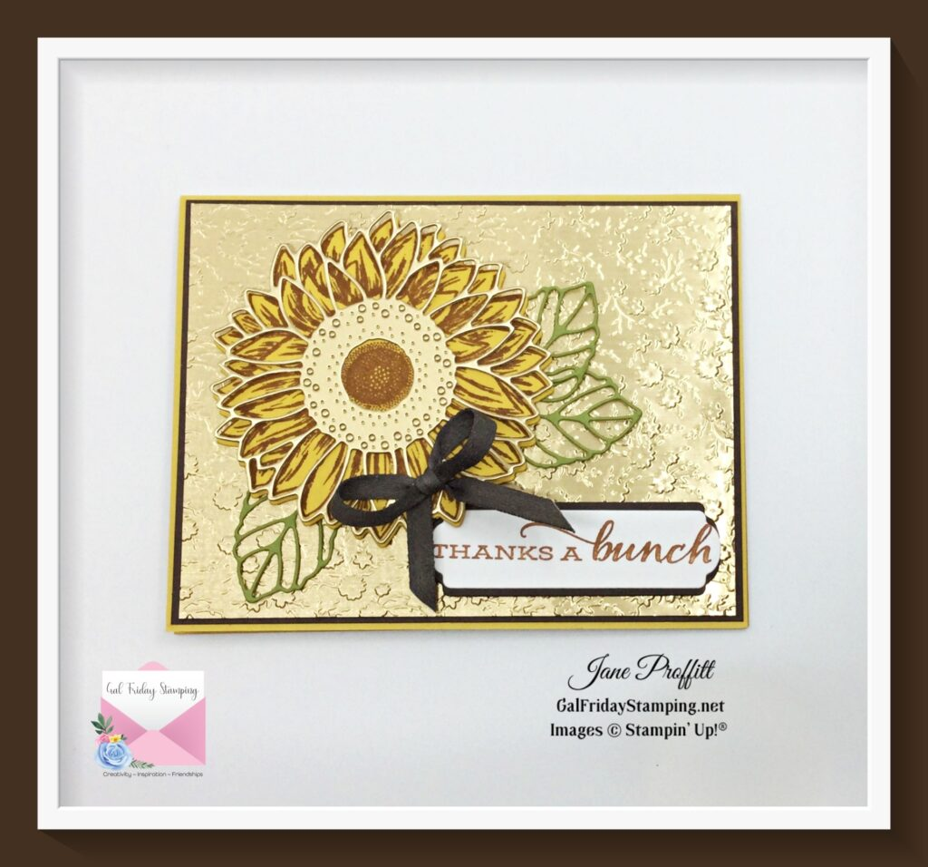 Celebrating Sunflowers weekly showcase card in gorgeous earth tones