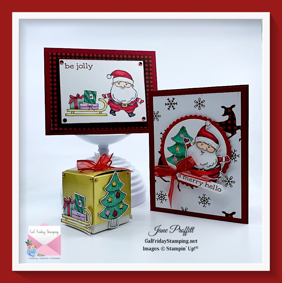 Be Jolly is the Spotlight stamp set this week.  You can get these make & takes by purchasing the stamp set or joining my patreon group.