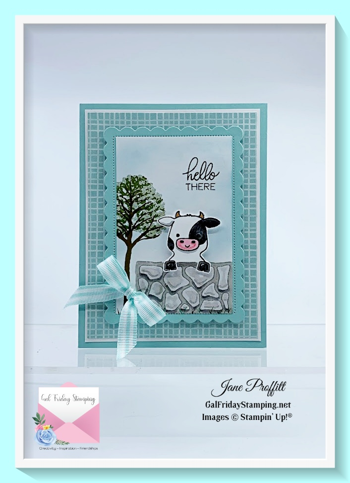This is the sweetest cow from the Peekaboo Farm stamp set.