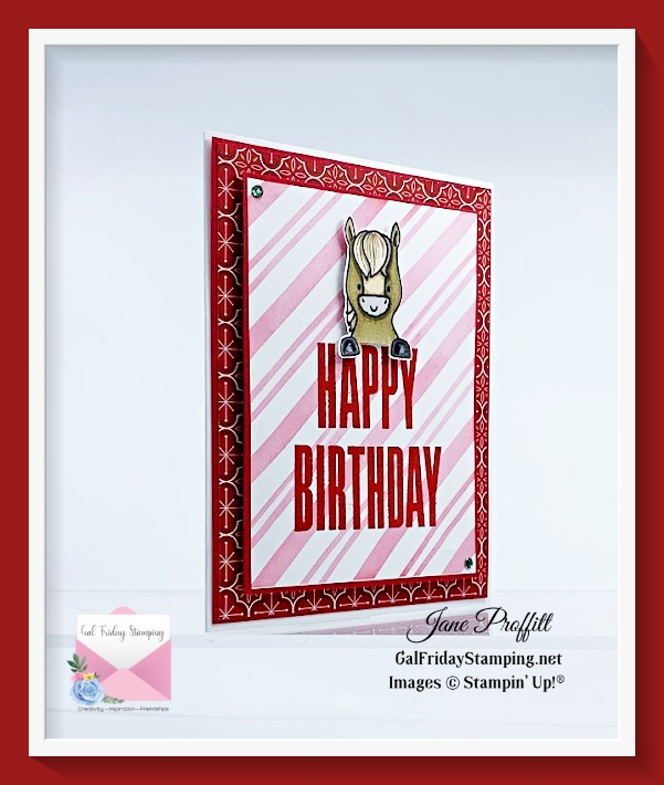 Quick and easy card for that December birthday using the Peekaboo Farm stamp set