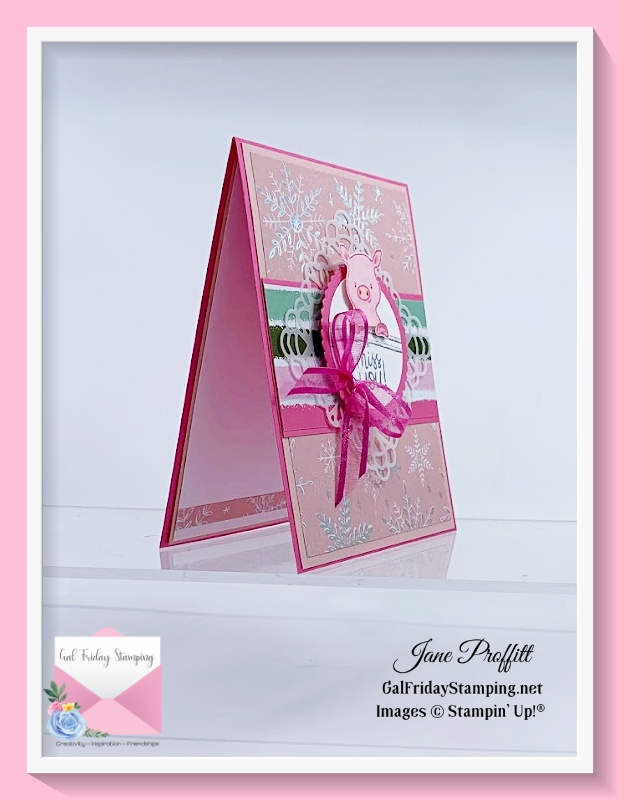 """Today this sweet piggy in pink """"miss you"""" card uses the Peekaboo Farm stamp set from Stampin' Up!"""
